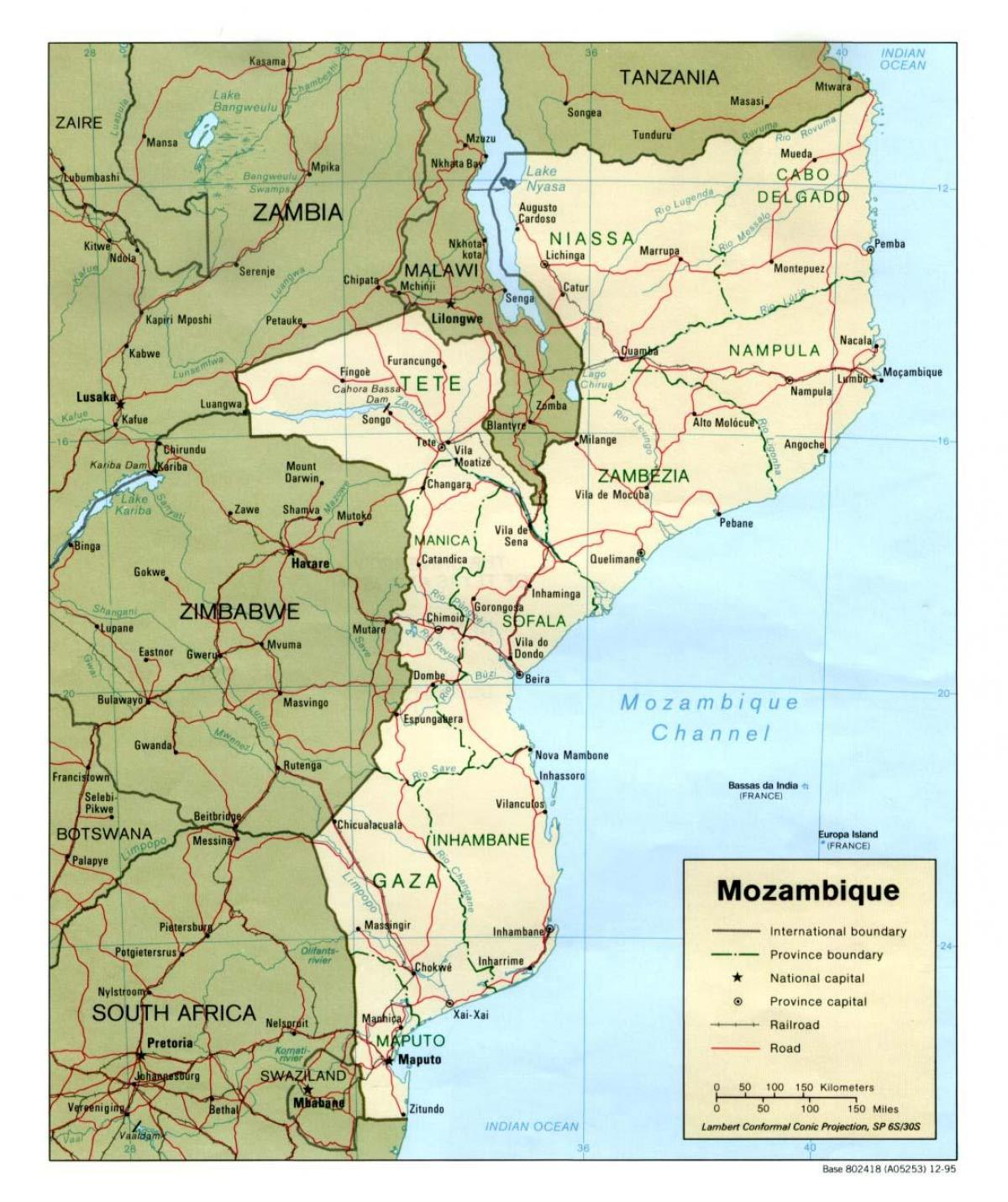 map of Mozambique roads