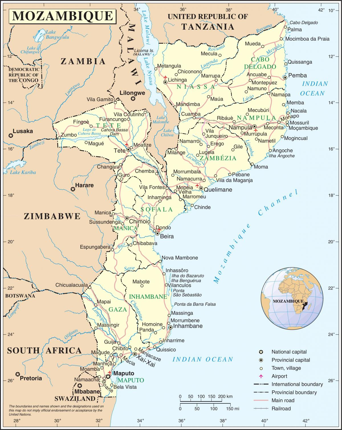 airports in Mozambique on a map