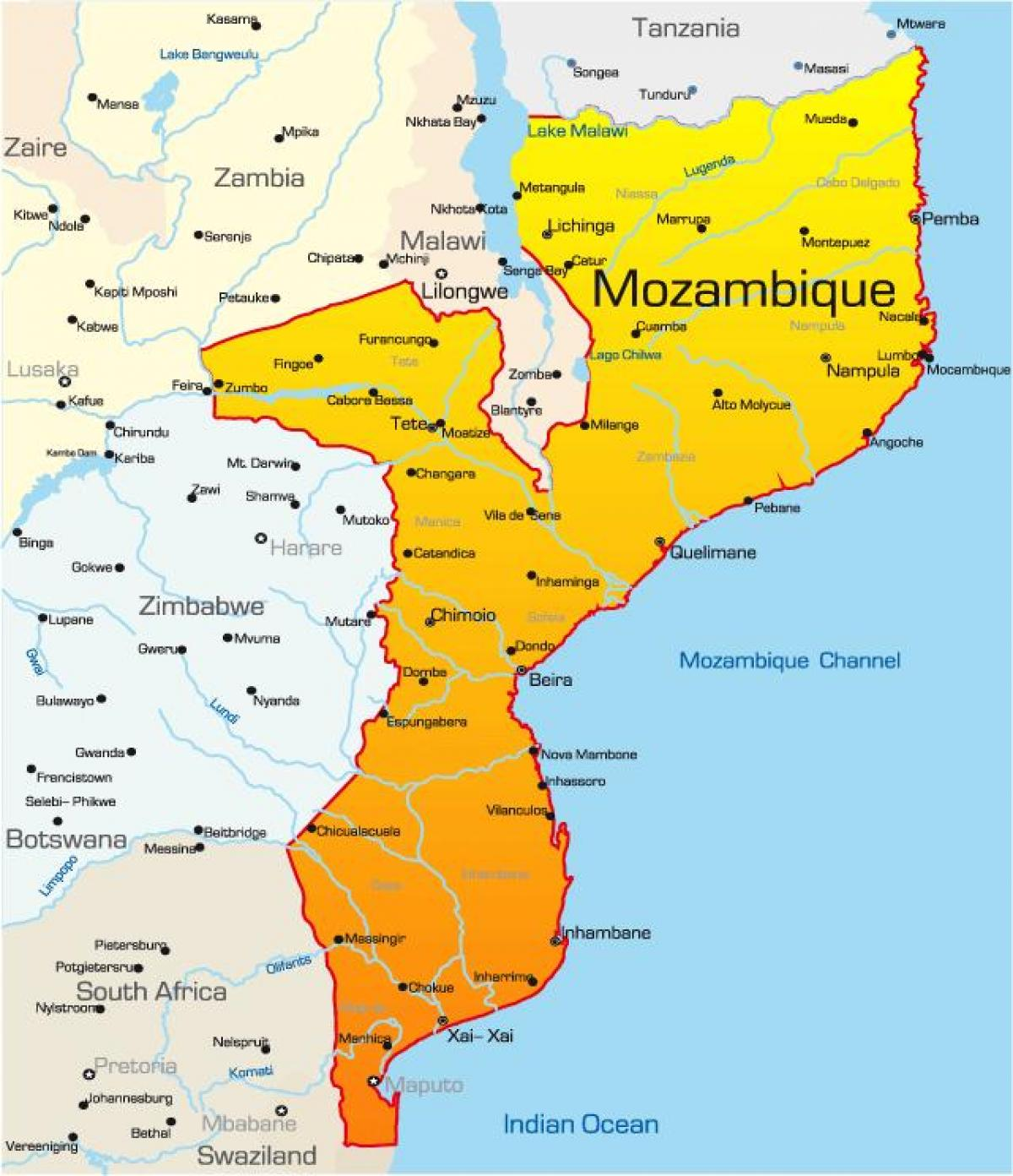 map of Mozambique map with distances